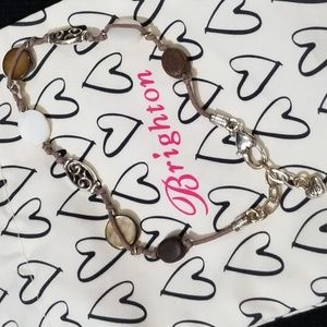 Brighton silver, brown and leather anklet